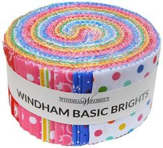 "Windham BASIC BRIGHTS Jelly Roll Precut 2.5"" Cotton Fabric Quilting Strips Assortment Baum Polka Dots Hearts JRBB-79 Windham Fabrics http://www.amazon.com/dp/B00NJ442CQ/ref=cm_sw_r_pi_dp_frYWub06663AQ"