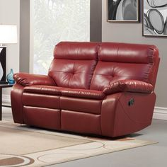 Sofa Sleeper Homelegance Wallace Leather Double Reclining Loveseat in Red traditional love seats