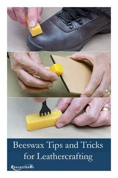 Beeswax Tips For Leatherwork Learn how to use beeswax on all of your leathercraft projects! Diy Leather Projects, Leather Diy Crafts, Leather Craft Tools, Leather Gifts, Leather Jewelry, Handmade Leather, Leather Bags, Leather Working Patterns, Leather Working Tools