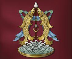 Pair of Golden Fish © Thoth Adan Tibetan Symbols, Tibetan Art, Tibetan Buddhism, Buddhism Symbols, Sacred Symbols, Religious Symbols, Religious Art, Vajrayana Buddhism, Dark Anime Girl