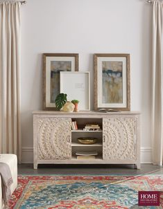 Find the right media cabinet for your style and your space. Whether it's used for a TV stand or a cabinet to storage items and display decorative art, a media cabinet is ideal in the living room. Our Chennai Sliding Door Media Cabinet has amazing details and beautiful finishes. Crafted of mango wood, it's a solid statement piece for the home. The doors slide to unveil extra storage space. Shop now at Home Decorators Collection.