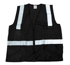 Black Mesh Vest with Scotchlite Reflective Striping, Surveyor Pockets and Zipper Front Closure Nyc Mens Fashion, Men's Fashion, Black Mesh, Vest, Zipper, Bags, Moda Masculina, Handbags, Mens Fashion