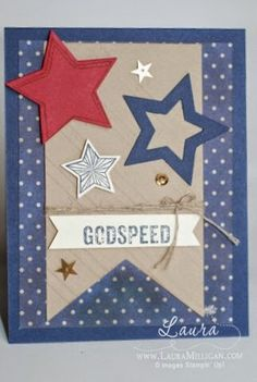 """Laura Milligan, Stampin' Up! Demonstrator - I'd Rather """"Bee"""" Stampin!: Stamper's Dozen Blog Hop - Home of the Brave. """"For Your Country"""" stamp set, """"Be the Star"""" stamp set, Stars framelits, Banner Framelits; Stylish Stripes Textured Impressions Embossing folder, Cherry Cobbler and Night of Navy inks and papers."""