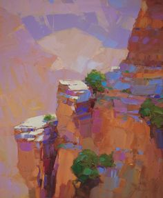 Grand canyon Landscape Original Oil painting on Canvas  Handmade artwork Signed #Impressionism