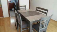 Comedor 6 personas de 90 por 1.50 con 4 sillas y una banca. Dos tonos en vintage gris