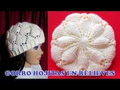 Gorro a crochet en PUNTO HOJITAS EN RELIEVES paso a paso TODAS LAS TALLAS - YouTube