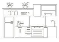 Architectural linear sketch interior small kitchen front view If you have eve… Loft Furniture, Furniture Outlet, Online Furniture, Luxury Furniture, Vintage Furniture, Modern Furniture, Furniture Design, Living Room Furniture, Furniture Ideas