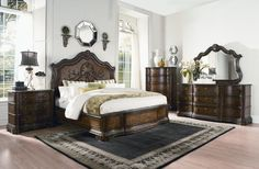 Pemberleigh Walnut 5pc Bedroom Sets W/Cal King Panel Bed 6/0