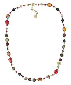 Another great find on #zulily! Gold & Burgundy Shine Beaded Necklace by Sakroots #zulilyfinds