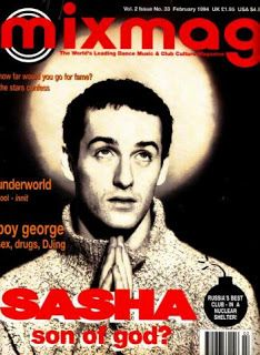 Mixmag, dance music magazine and clubbing bible. Infamous 'Sasha - Son Of God' cover from February 1994 featuring an interview with the iconic DJ. Dj Music, Music Film, Dance Music, Music Bands, Dj Sasha, Girl Dj, Kiss Fm, Deep House Music, Acid House