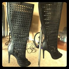 Peep toe eyelet boots Worn one time super hot luv these to death but heels are going into past now but these I've coveted for long enough, they look great hanging in closet and tons of compliments the one time I wore. They are a US 7 and heels about 4' zips up the back/ matte blk leather not shiny ALDO Shoes Heeled Boots