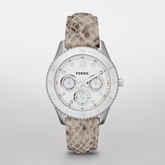 Fossil Stella Leather Watch – Snake Print