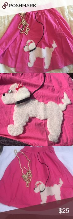 Liz Claiborne Vintage Poodle Skirt Pink classic poodle skirt. It's so cute! 100% cotton. Some fading from age. 22 inches in length Liz Claiborne Skirts
