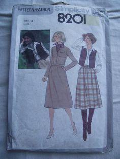 1977 SIMPLICITY Skirt Vest Jacket Pattern by KathysRetroKorner