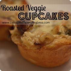 Roasted Veggie Cupcakes--YUMMY!  Great kid-friendly vegetarian recipe! #vegetarian #recipe