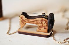Vintage Sewing Machine wooden necklace by StrangelyYours on Etsy - Shared Hosting - Vintage Sewing Machine wooden necklace by StrangelyYours on Etsy Wooden Necklace, Personalized Necklace, Couture Vintage, Laser Cutter Ideas, 3d Cnc, All The Small Things, Vintage Sewing Machines, Personalized Christmas Gifts, Diy Schmuck