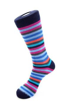 Unsimply Stitched 6 Color Stripe Sock - Blended Combed Cotton Polyamide Spandex 8 To 12 Blue Socks, Striped Socks, Color Stripes, Stripe Print, Hosiery, Casual Outfits, Stitch, Cotton, Clothes