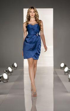 Etui-Linie Herz-Ausschnitt Kurz Blau Satin Partykleid E14E3004 $199.99 2014 Neue Kollektion