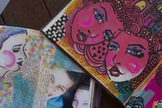 Using Jane Davenport Stencils to make something that is uniquely your own in your Art journal www.ravenscauldron.blogspot.com Little Raven Ink