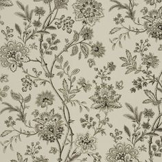 Langley Floral - Cream/Black Wallpaper traditional wallpaper
