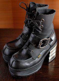90s Brown Hiking Lug Sole Patchwork Platform Treaded Hiking Grunge Bratz Style Leather Boot