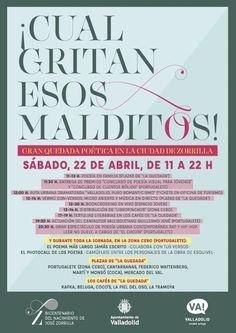 """Mañana sábado 22 de abril se celebra por toda la ciudad la gran quedada poética """"¡Cuál gritan esos malditos!"""" con motivo del Bicentenario de José Zorrilla. Desde las 11 de la mañana se sucederán en diversos puntos de la ciudad recitales, talleres y actuaciones musicales y tertulias.  Disfruta de un sábado único lleno de poesía en Valladolid!  http://info.valladolid.es/ensutinta/2017/04/la-quedada-poetica-cual-gritan-esos-malditos-inundara-valladolid-de-versos-este-sabado-22"""