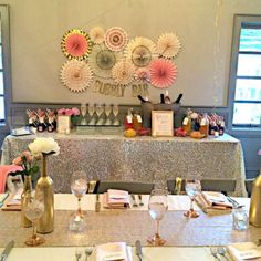 Bubbly Bar, Blush sparkle linens, gold bottles, peonies, 14 & hudson