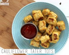 Cauliflower Tater Tots--½ head large cauliflower, cut into florets 2 eggs, lightly beaten ¼ cup coconut flour ½ teaspoon garlic powder ¼ teaspoon onion powder salt & pepper to taste - See more at: http://blog.paleohacks.com/cauliflower-tater-tots/#sthash.YHWG5zVJ.dpuf