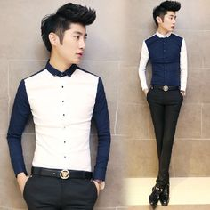 2014 Newest Slim Fit Patchwork Fashion Shirt Vintage Cool Office Party Men 3 Colors M-XXL Hot Sale $24.99 Formal Shirts, Casual Shirts, Chinese Clothing, Refashion, Fashion Outfits, Womens Fashion, Business Casual, Dapper, Chinese Outfit