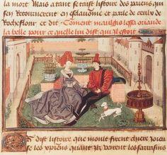 "Regnault de Montauban Aubert, David ; né v. 1435.  ""Maugis et Orlande dans le jardin"". Enluminure, Bruges, v. 1462/70. Illustration in : ""Roman de Renaud de Montauban"".  Ms. Arsenal 5072 fol. 71 v, Identifier AKG152837 Artist LOYSET LIEDET"