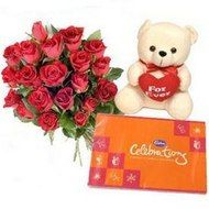 Express what you feel deep down in your heart with this enchanting combination. This is a sensational selection.?10 Red Roses, Teddy Bear (6 Inch) and Cadbury Celebration Pack. http://www.onlinedelivery.in/flowers-delivery-in-ahmedabad.aspx