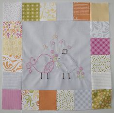 Birdie stitches- this is a series of cute birdie embroidered blocks. Inspirational of what to do with all those vintage linens.