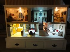 The Barbie doll is so ubiquitous in our common cultural consciousness that she hardly needs an introduction. Today's remarkable listing is a stunning, detailed dollhouse, built just for Barbie and well worth a look. Barbie Doll House, Barbie Dream House, Girl Barbie, Barbie Room, Barbie Furniture, Dollhouse Furniture, Furniture Redo, Custom Barbie, Play Houses