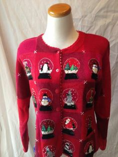 "SUSAN BRISTOL red ""SNOW GLOBES"" UGLY XMAS SWEATER cardigan Medium"