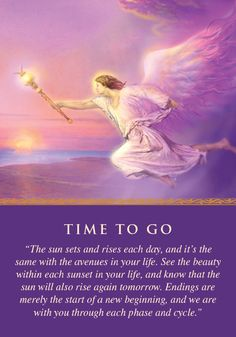 Oracle Card Time to Go | Doreen Virtue | official Angel Therapy Web site [Good card today. Past, living space, relationships...]