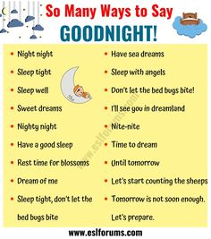 This page provides a list of 18 interesting ways of saying GOODNIGHT in English you might need to use in your daily life. Essay Writing Skills, English Writing Skills, Writing Words, English Lessons, English Sentences, English Phrases, Learn English Words, English Learning Spoken, English Language Learning
