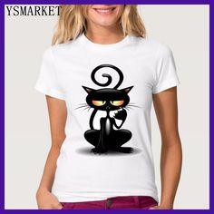 New Cute Funny Black Cat 3D Print T-shirts Plus Size Street Fashion Casual Couple Tops Female Prendas De Vestir Parejas H9194
