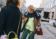 #StreetStyle   #NYC  Megan Bowman Gray in Sies    Marjan, a Balenciaga coat and a Simon Miller bag