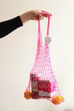 LAST ONE Pink Eco Friendly Shopping Net Bag Great for by ILoveYoYo, $19.99