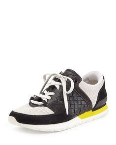Intrecciato Lace-Up Sneaker, Nero/Bianco/Gray by Bottega Veneta at Neiman Marcus.