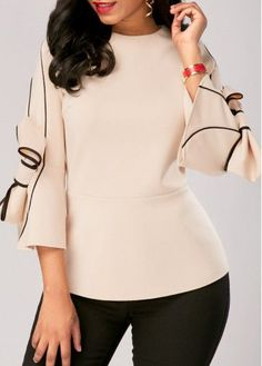 Flare Sleeve Zipper Back Bowknot Embellished Blouse Casual Fall Outfits, Classy Outfits, Chic Outfits, Trendy Tops For Women, Blouses For Women, Formal Blouses, Beige Blouses, Women's Blouses, Bikini