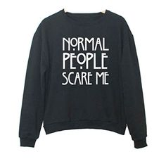 """Namnoishop : 2016 """"NORMAL PEOPLE SCARE ME """" Black Hoodies Sweatshirts / The actual item's color maybe slightly different from the picture shown due to the light..."""