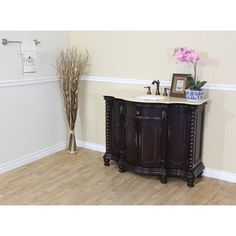 "Bellaterra Home Antique 48"" Antique Single Sink Bathroom Vanity - Dark Mahogany 600161-DM-CM at DiscountBathroomVanities.com"
