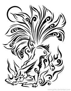 Nine-tailed fox line-art - Complete by goiku on DeviantArt