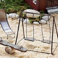 Miniature fairy garden swing the fairy scoop fairy houses and furniture by olive Fairy Garden Furniture, Fairy Garden Supplies, Gardening Supplies, Gardening Tips, Gardening Direct, Fairy Gardening, Mini Fairy Garden, Fairy Garden Houses, Fairies Garden