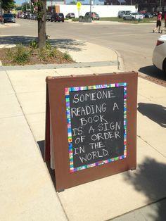 Sign outside bookstore in Cedar Rapids, IA