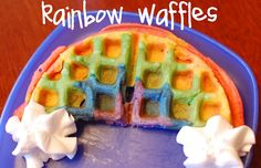 Rainbow Waffles... i know a little chef in my kitchen who will love making these together!