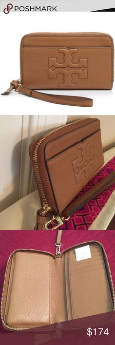 "Tory Burch Bombe-T Smartphone Wristlet. NWT Perfect size wristlet in soft pebbled leather in the color Bark. Zip around closure, leather lining with room for your smartphone (up to an iPhone 6 size). On the front has a raised signature logo medallion and a large slip pocket. Inside has 2 bill slots with 6 credit card slots. Wristlet strap is removable. Approximate Measurements: 7"" L X 4.5"" H X 1.5"" D. New, never used with tag. Tory Burch Bags Clutches & Wristlets"