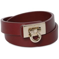 Salvatore Ferragamo Women Gancino Double Wrap Leather Bracelet ($160) ❤ liked on Polyvore featuring jewelry, bracelets, burgundy, salvatore ferragamo, leather bangle, leather jewelry and salvatore ferragamo jewelry