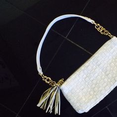 """Elliott Lucca mesh handbag White mesh with tassel. Gold accents   Not in perfect condition, but it's still cute for casual day out!  11"""" x5"""".  1"""" thick    The white part of leather looks slightly worn.  I think it is leather Elliott Lucca Bags"""